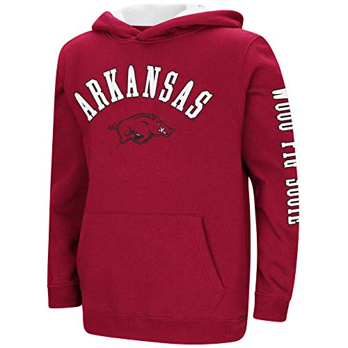 Colosseum NCAA Youth Boys-Crunch Time-Hoody Pullover-Arkansas Razorbacks-Cardinal-Youth Large