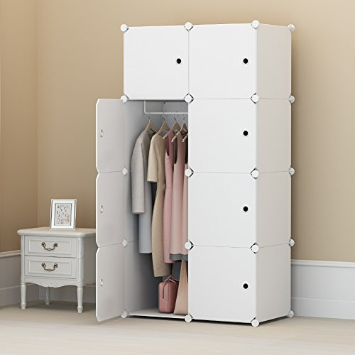 KOUSI Portable Clothes Closet Wardrobe Bedroom Armoire Storage Organizer with Doors, Capacious & Sturdy. 8 cube White (Cheap Portable Closets)