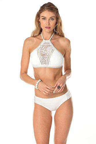 - BECCA by Rebecca Virtue Women's Prairie Rose High Neck Halter Top White Swimsuit Top