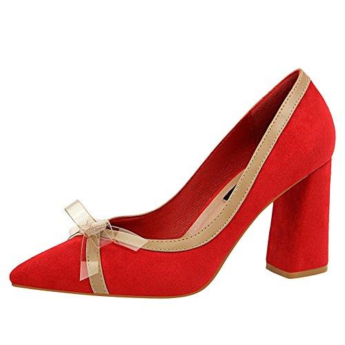 Carolbar Women's Chic Fashion Bow Block High Heel Pointed Toe Dress Shoes Red 3tAxUk