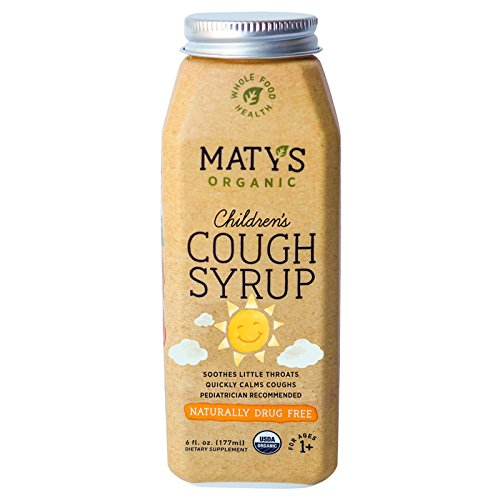 Maty's Organic Children's Cough Syrup, 6 Fluid Ounce, Soothes Throats & Calms Dry Coughs With Organic Honey and Immune Boosting Ingredients, Helps Ease Common Cold Symptoms (Dry Cough Syrup)