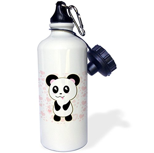 Panda Gift (3dRose wb_211674_1 Panda Bear With Heart Background Sports Water Bottle, 21Oz, Multicolored)