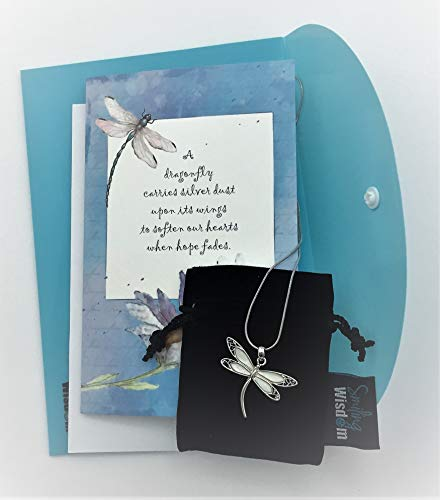 Jewelry & Watches Smiling Wisdom Black Dandelion Wishes Dragonfly Necklace and Card Gift Set Fashion Jewelry