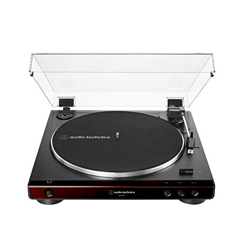 Audio-Technica At-LP60X-BW Fully Automatic Belt-Drive Stereo Turntable, Brown/Black, Hi-Fidelity, Plays 33 -1/3 and 45 RPM Vinyl Records, Dust Cover, Anti-Resonance, Die-Cast Aluminum Platter (Record Player Brown)