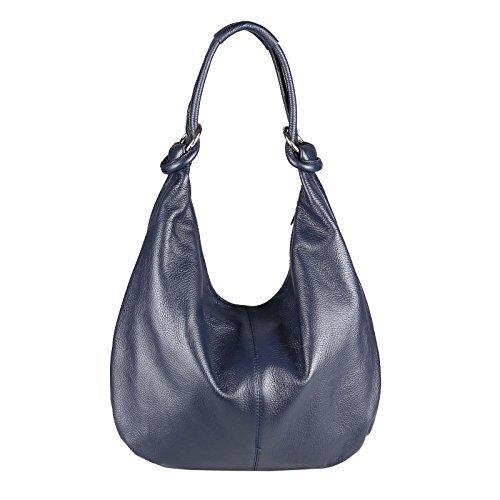 Made in Italy Sac à bandoulière en cuir pour femme Shopper Xxl Sac de taille 47x35x16 cm (bxhxt) - Bleu foncé