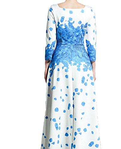 Blu Fit Floreale Elegante Pendolo Vestito Bechwear Femminile Sottile Magro Grande Maxi ppZwq