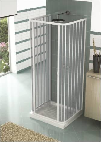 Box Doccia 3 Lati 2 Ante a Soffietto Apertura Centrale In PVC H185x 70x70x70 cm Bianco Caldoni Mars