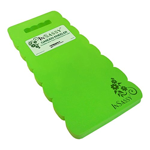 InSassy (TM) Garden Kneeler Wave Pad - High Density Foam for Best Knee Protection (Green)