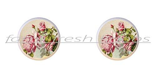 SET OF 2 KNOBS - Rose Design #028 - Shabby Chic Vintage Roses by ETS - DECORATIVE Glossy CERAMIC Cupboard Cabinet PULLS Dresser Drawer ()