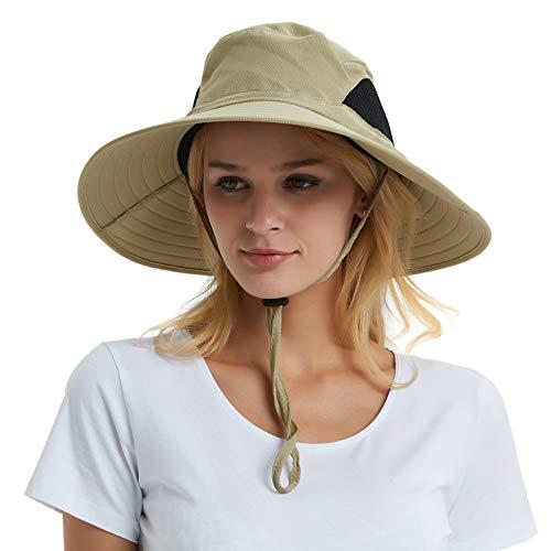 EINSKEY Women's Wide Brim Sun Hat, Outdoor Sun Protection Visor Floppy Hat Packable Boonie Hat for Safari Fishing Beach Golf Khaki ()