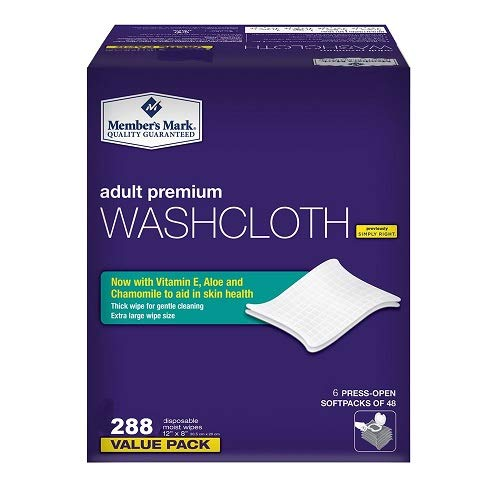 Member's Mark Adult Premium Disposable Washcloth Value Pack 288 Count 1, Blue (3 Boxes(288 Count))
