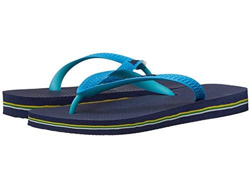 Havaianas Women's Brazil Mix Flip Flops, Navy Blue/Turquoise, 37-38 BR / 7-8 B(M) US