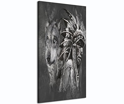Canvas Print Wall Pictures for Living Room Posters and Prints Modern Home Decor Painting Native American Indian with Wolf Artworks Black and White 3 Piece Framed Ready to Hang (20x28 Inch/3pcs)