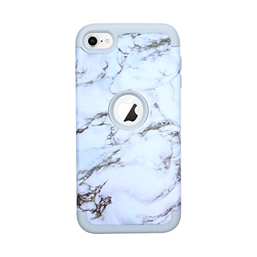 iiPod Touch 6th Generation Case, iPod Touch 5 Case, Alkax Marble Pattern Cases Hard PC Slim Bumper & Soft TPU Rubber Hybrid Cover Heavy Duty Armor Protective Case Design for Apple iPod Touch 6(White) (Ipod Girl Touch 5th Case Blue Gen)