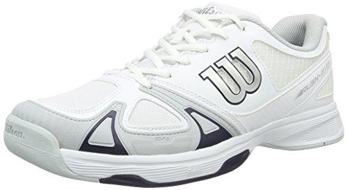 Rush Hommes Wilson Chaussures De Tennis Evo Blanc Cassé (blanc / Bleu Perle / Wil Marine)
