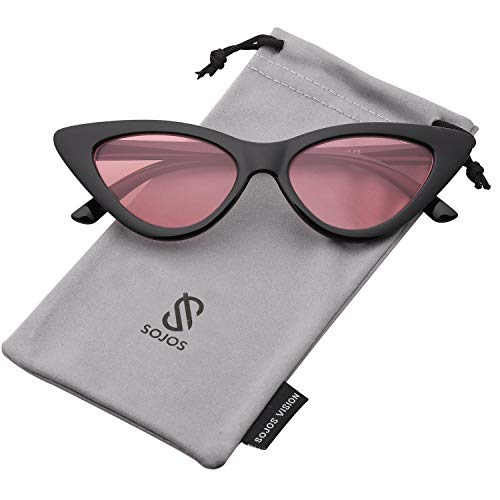 Frame Shaded Pink Lenses - SOJOS Retro Vintage Narrow Cat Eye Sunglasses for women Clout Goggles Plactic Frame Cardi B with Black Frame/Pink Lens