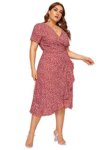 Milumia Women Plus Size Vintage Floral Boho Wrap V Neck Maxi Dress Retro Red 1X