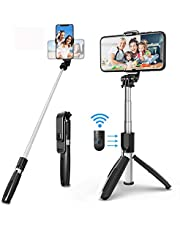 Selfie Stick Tripod, All in One 40 Inch Extendable Phone Tripod with Detachable Wireless Bluetooth Remote Adjustable Gopro DSLR Camera Tripod Compatible with iPhone 11/XS Max/XS/X Android Phone