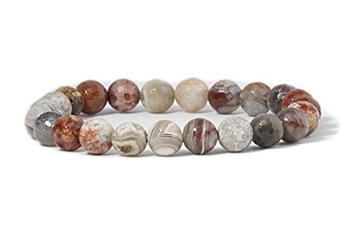 Cherry Tree Collection Natural Semi-Precious Gemstone Beaded Stretch Bracelet 8mm Round Beads 7 (Laguna Lace Agate Faceted)