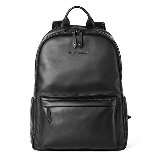 Premium Backpack Leather (Sharkborough Supreme Anton Men's Backpack Genuine Leather Travel Bag Extra Capacity Casual Daypacks)