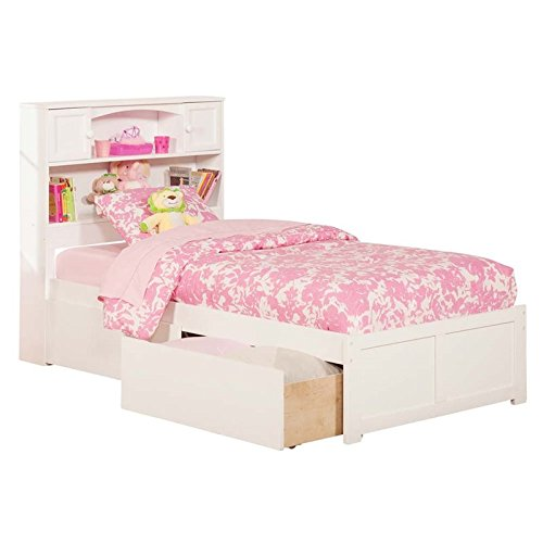 Newport Flat Panel Foot Board with 2 Urban Bed Drawers, Twin, White (Panel White Bed Twin)