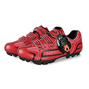 Road Bike Shoes, Microfiber Anti-Slip Cycling Shoes Unisex Breathable Wear Resistant Mountain Training Shoes,red,41