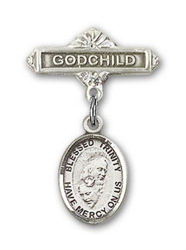 Icecarats Créatrice De Bijoux En Argent Sterling Charme De La Sainte Trinité Broches Badge Filleul 1 X 5/8