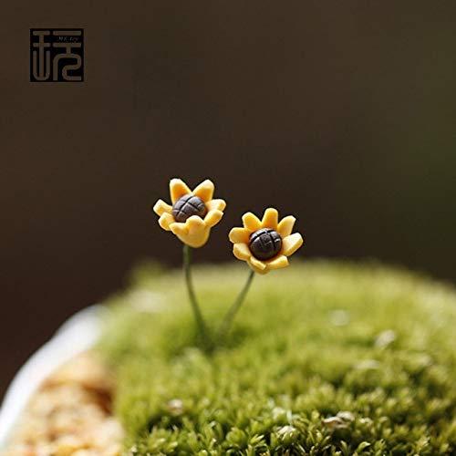 - ZAMTAC Little Clay Sunflower Fairy Garden Miniatures DIY Doll House Decoration Terrarium/Succulents/Micro Landscape Decorations - (Color: Gold)