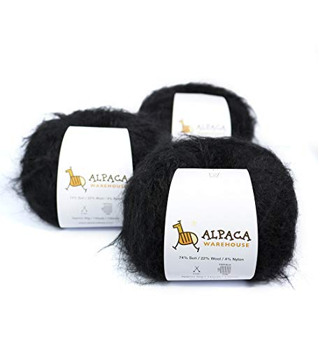 (Superfine Suri Alpaca Yarn Wool Set of 3 Skeins Sport Weight (Black))