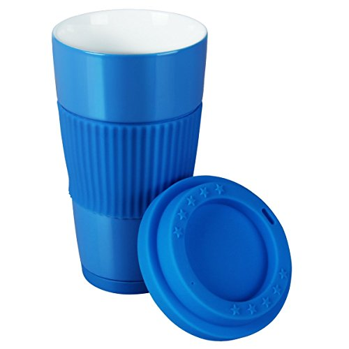 Yilove Coffee Mug With Lid, BPA-free, Ceramic, 16 Ounce-Blue