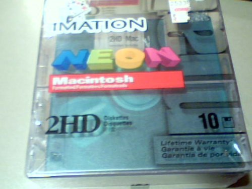 1999 Imation Enterpirses Corp., Imation Neon Macintosh Formatted 2hd Diskettes Blister Box 10-piece Package Reorder No. 51122 92278 with Fungus Resistant Media, Anti-static Diskette Design, Patented Lock Icons & Write-on Label (See Through Clear Version, Macintosh Version, 10-piece Set)