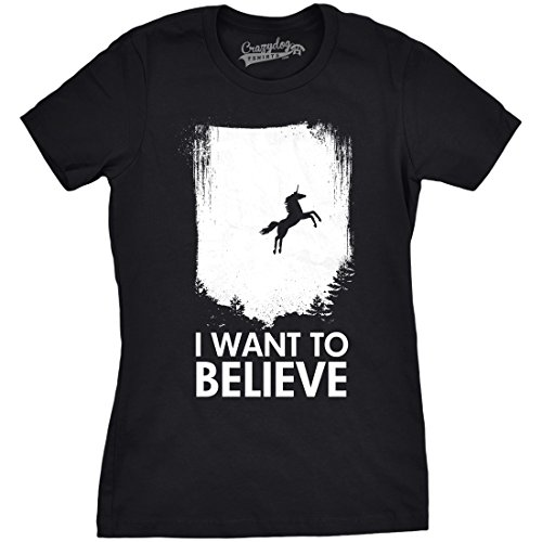Believe Dog T-shirt - Crazy Dog T-Shirts Women's I Want to Believe in Unicorns T Shirt Funny Magical Unicorn Tee (Black) 3XL