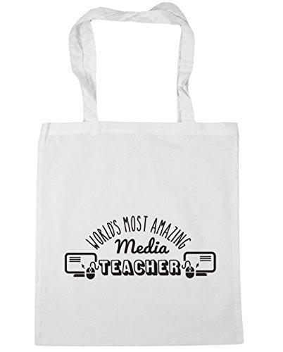 HippoWarehouse más sorprendente del mundo medios de comunicación profesor bolsa de la compra bolsa de playa 42cm x38cm, 10litros blanco
