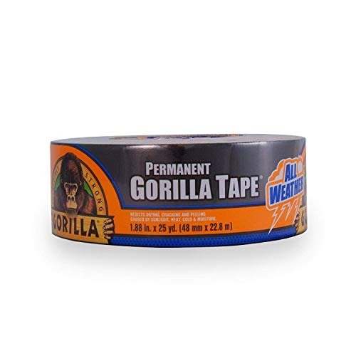 Gorilla All Weather Outdoor Waterproof Duct Tape, UV and Temperature Resistant, 1.88 x 25 yd, Black (Pack of 1)