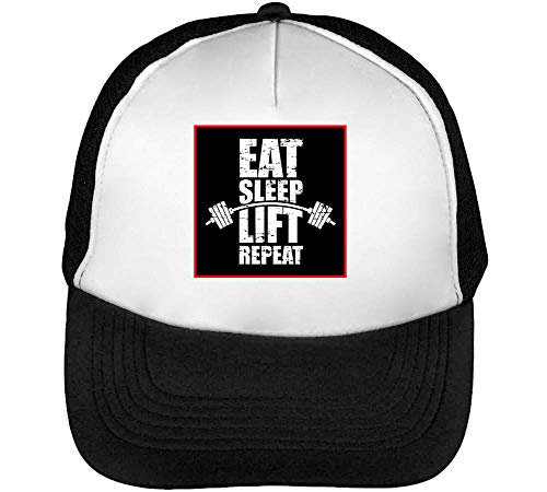 Eat Gorras Hombre Blanco Beisbol Repeat Negro Snapback Lift Dope Sleep TvnRTrH