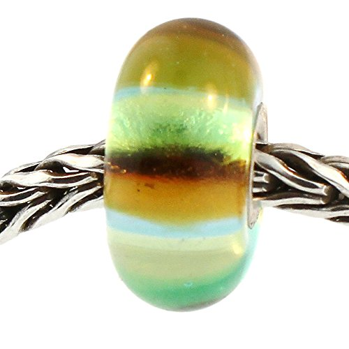 Authentic Trollbeads Glass 61348 Green Rainbow