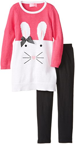 Girls Bunny Face Sweater and Legging Set - Cute for Easter