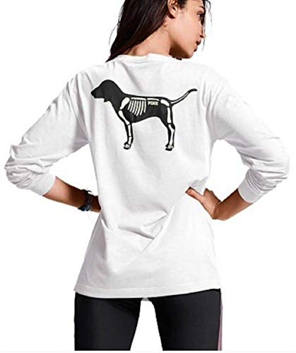 Victoria's Secret Pink Campus Long-Sleeve Pocket Tee, Halloween NOT Your Boo White, Medium]()