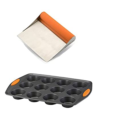 Premier Rachael Ray Scraper Shovel Spatula Set with Bonus Yum-O Nonstick 12 Cup Muffin & Cupcake Pan.