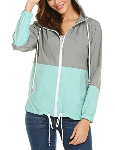 Exterior Gris Chaqueta Ligera para Deportiva con zhenwei para Impermeable Chaqueta Mujer Mujer Azul Capucha 7wAqxd0t