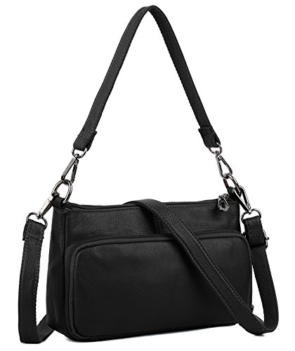 YALUXE Women's Small Size Crossbody Bag Leather Mini Purse with 6 Card Slots and fit 5.5'' Smartphone Black by YALUXE