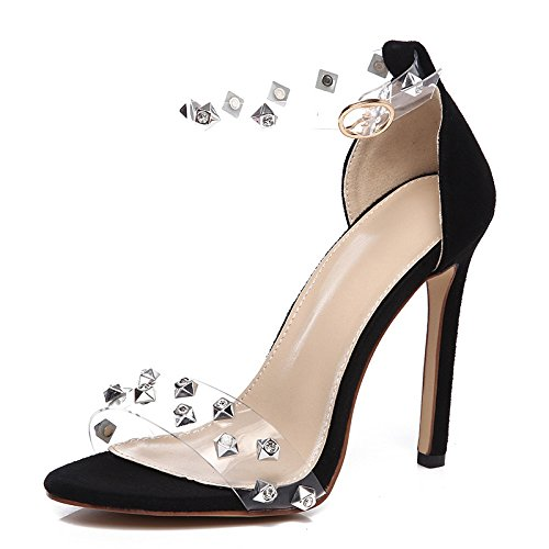Women Open Toe Clear Rivets High Heels Sandals Ankle Strap Buckle Dress Evening Party Wedding Shoes Black