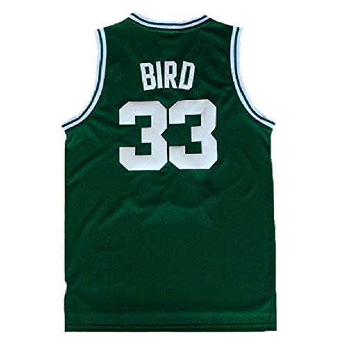 Youth Bird Jersey Kid's 33 Basketball Jerseys Larry Boy's Jersey Green(S-XL) (XL)