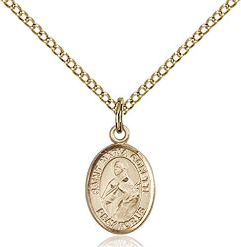 - Patron Saints by Bliss 14K Gold Filled Saint Maria Goretti Petite Charm Medal, 1/2 Inch