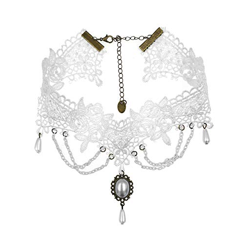 Gothic Style Halloween (Eternity J. Vintage Lace Gothic Style Tassel Pendant Choker Victorian Palace Princess Lolita Necklace)