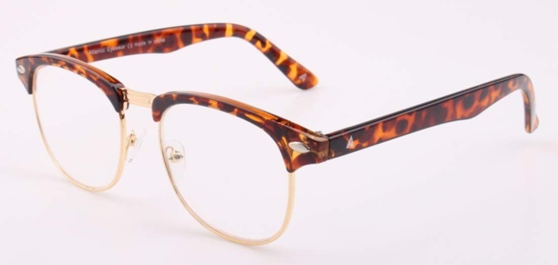 +2.00 Atlantic Eyewear AE0060 Brown Tortoiseshell and Gold Retro Reading Glasses Supplied with Matching Soft Pouch