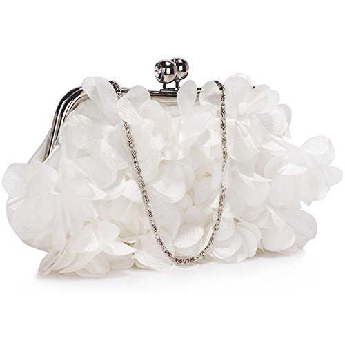 Ladies Diamante Evening Bags Small Size Women's Fashion Quality Clutch Crystal Frame Satin Designer Handbag Wedding Bridal Festival CWE00101 CWE00287 Cwe00327-ivory (27x5x14cm)