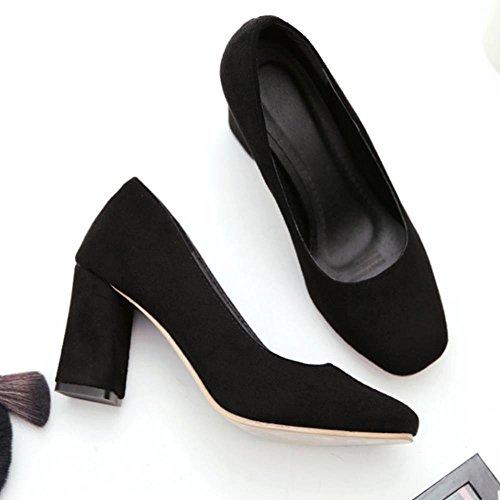 COOLCEPT Mujer Moda Tacon Ancho Alto sin Cordones Punta Redonda Boca Baja Zapatos Negro