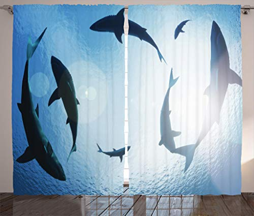 Ambesonne Sea Animals Decor Collection, School of Sharks Circling from above Aggressive Creature Scary Threat Photography Print, Living Room Bedroom Curtain 2 Panels Set, 108 X 84 Inches, Blue by Ambesonne
