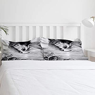 T&H Home 4 Pieces Duvet Cover Set King Size Bedding Set with Soft Comforter Cover/Flat Sheet/Pillowcovers - Couple Wolf Lean on Each Other Home Textiles Decor for Children/Kids/Teens/Adults: Home & Kitchen
